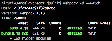 Zapnutý nástroj Webpack
