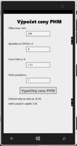 Výsledná aplikácia bežiaca na emulátore mobilného zariadenia
