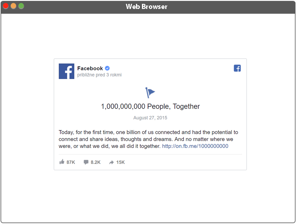 Aplikácia - zobrazenie Facebook príspevku