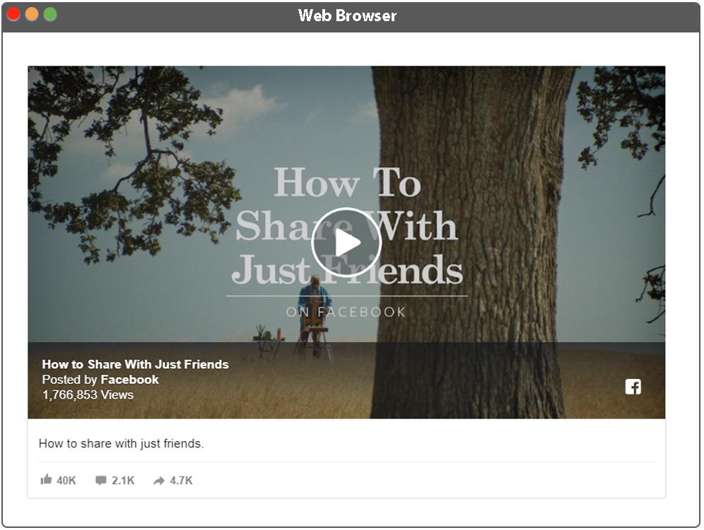 Aplikácia - zobrazenie Facebook videa