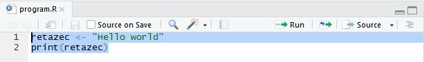 Pre spustenie  programu musíme označiť všetky riadky kódu v editore.