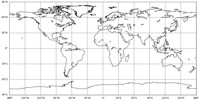 Prázdna ekvidistantná valcová projekcia Zeme vytvorená knižnicou Matplotlib Basemap.