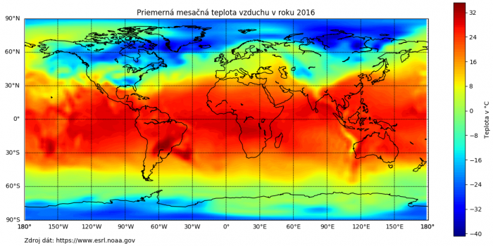 Teplotné dáta zobrazujúce priemernú mesačnú teplotu v roku 2016 na ekvidistantnej valcovej projekcii Zeme.